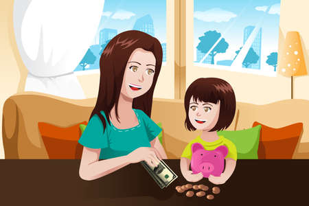 teaching children: A vector illustration of beautiful mother giving money to her daughter and saving it to a piggy bank Illustration