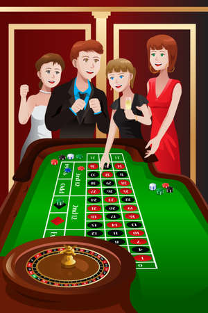 woman drinking wine: A vector illustration of group of people playing roulette in a casino