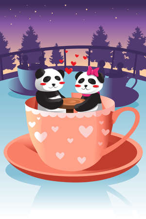 A vector illustration of cute couple panda riding teacup game at the amusement park Vector