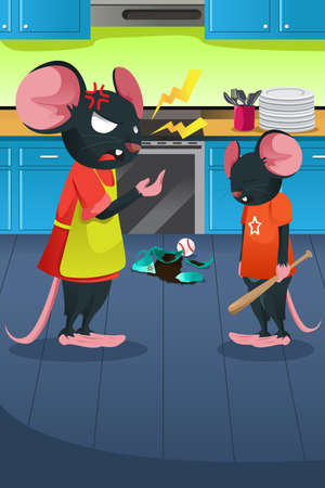 anger kid: A vector illustration of angry mouse yelling at her kid in the kitchen