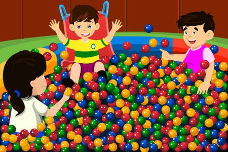 Een vector illustratie van gelukkige kinderen spelen in een ballenbad