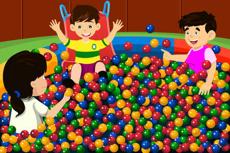 A vector illustration of happy kids playing in a ball pool
