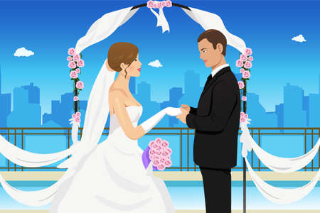 hand illustration: A vector illustration of a happy groom holding his bride's hand Illustration