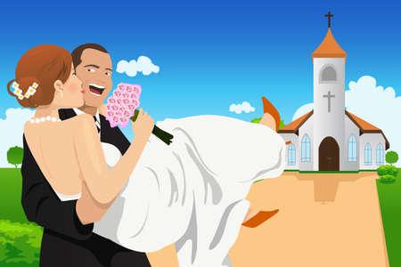 Een vector illustratie van een gelukkige bruidegom die de bruid Stock Illustratie