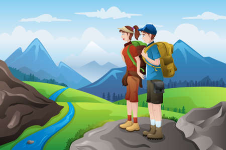 A vector illustration of couple backpackers on top of mountain Ilustração