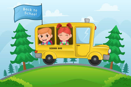 cartoon school girl: A vector illustration of kids riding school bus for a back to school concept