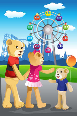 A vector illustration of bear family having fun at amusement park