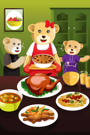 A vector illustration of cute mother bear having dinner with her kids