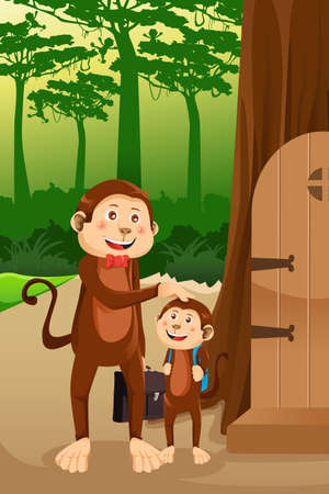 A vector illustration of a monkey father with his child Vector