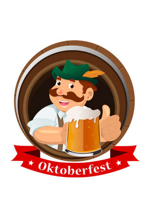 beers: A vector illustration of a mustache guy holding beers celebrating Oktoberfest