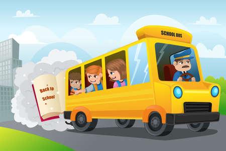 autoscuola: Una illustrazione vettoriale di bambini equitazione scuola bus torna a scuola Vettoriali