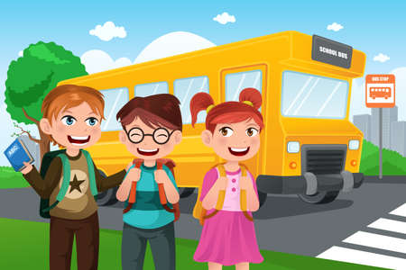 A vector illustration of kids group of cute kids back to school Stock Vector - 21728492