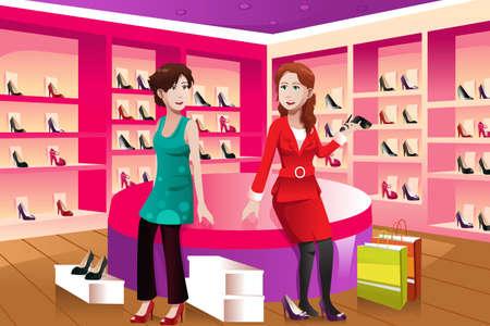 comprando zapatos: Una ilustraci�n del vector de la mujer feliz comprar zapatos en una tienda de zapatos