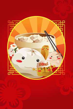A vector illustration of Chinese dim sum restaurant menu cover design