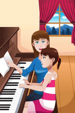 Een vector illustratie van gelukkige moeder die haar dochter onderwijst om piano te spelen