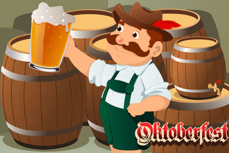 bavarian culture: A vector illustration of a mustache guy holding beers celebrating Oktoberfest