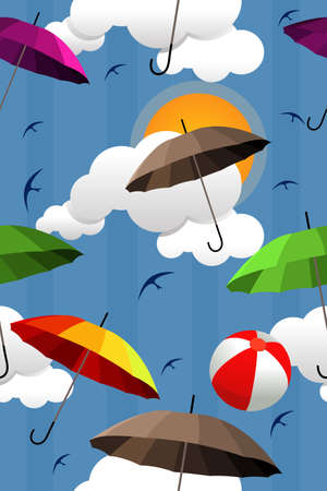 A vector illustration of wallpaper with colorful umbrella pattern Vector
