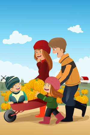 A vector illustration of happy kids having fun on a pumpkin patch with their parents