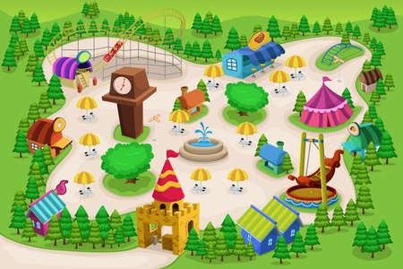 familia parque: Una ilustraci�n vectorial de parque de atracciones mapa