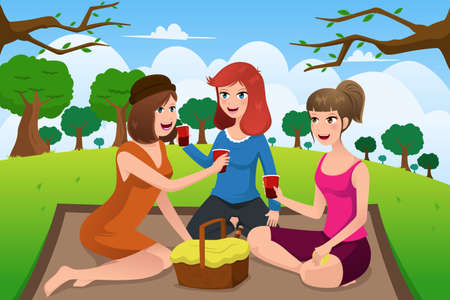 A vector illustration of group of young women having picnic in a park together Illustration