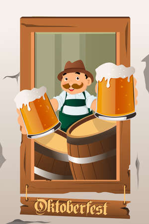 lederhosen: A vector illustration of a mustache guy holding beers celebrating Oktoberfest