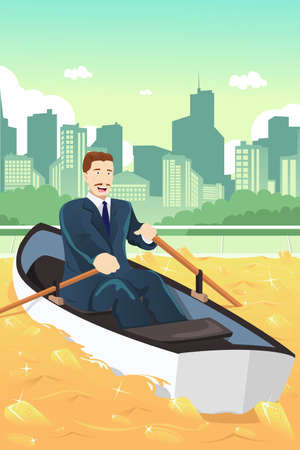Een vector illustratie van gelukkig zakenman in een roeiboot in een vijver van goud