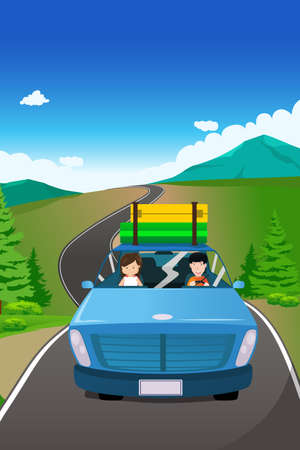 A vector illustration of couple riding a car going on a road trip Vector