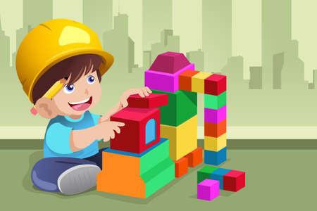 A vector illustration of active kid playing with his toys