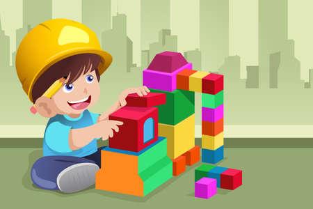 Een vector illustratie van actieve jongen speelt met zijn speelgoed