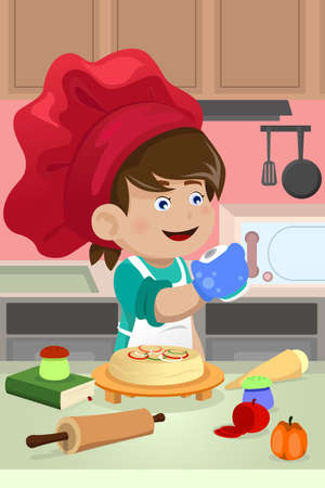 A vector illustration of happy kid cooking in the kitchen Ilustração