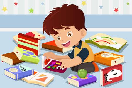 A vector illustration of cute kid reading a book  Ilustração