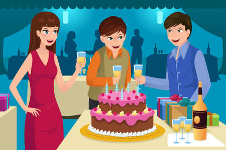 birthday party: A vector illustration of young people celebrating a birthday party