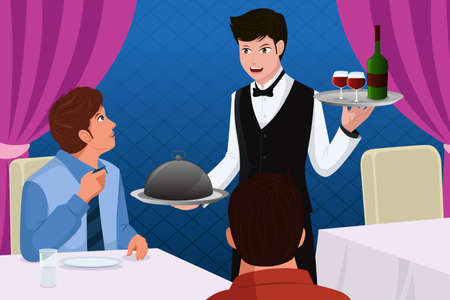 A illustration of a waiter in a restaurant serving customers