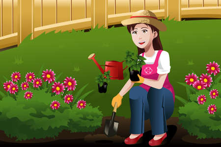 A illustration of a beautiful young woman working in the yard Ilustracja