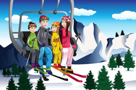스키 리프트에 앉아 행복한 가족 갈 스키의 그림