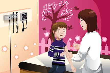 Een vector illustratie van een meisje krijgt een griepprik door een arts in de arm