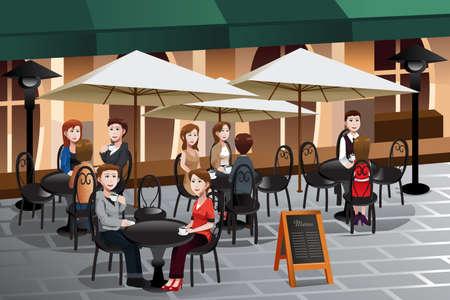 カフェの外のコーヒーを楽しむ人のイラスト  イラスト・ベクター素材
