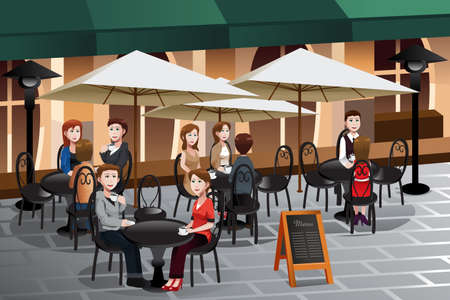A illustration of people enjoying coffee outside of a cafe