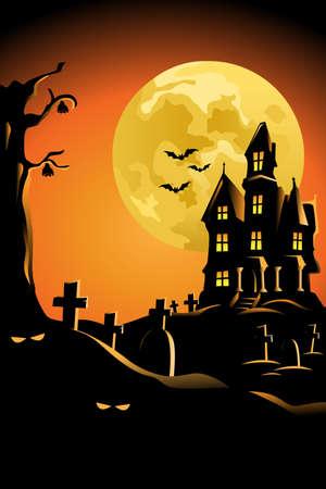 boom halloween: Een illustratie van Halloween achtergrond ontwerp voor Halloween poster