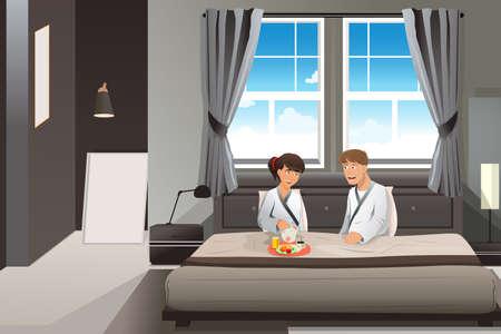 pareja comiendo: Un ejemplo de la feliz pareja de desayunar en la cama