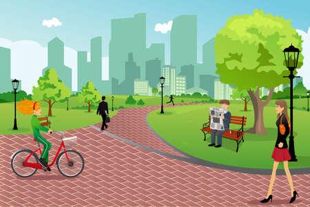 Een illustratie van jonge moderne trendy mensen in een stadspark doen van activiteiten