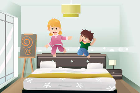 A illustration of active kids jumping on the bed Vector
