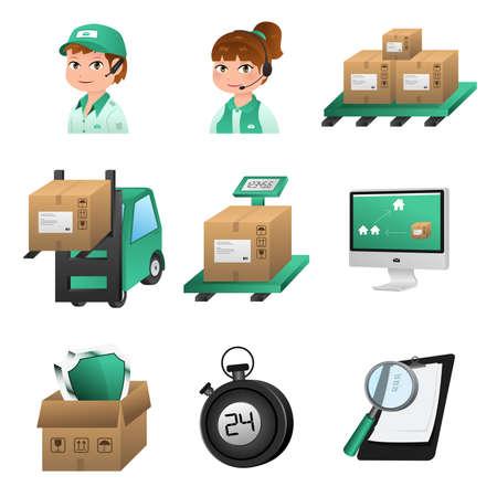 carretillas almacen: Una ilustraci�n del icono de log�stica establece