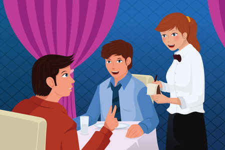 ordering: A illustration of a waiter in a restaurant serving customers