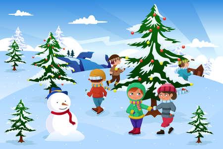 winter fun: Een illustratie van de groep van gelukkige kinderen schaatsen rond een kerstboom