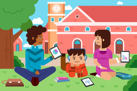 A  illustration of college student in the campus with tablet PC Vector