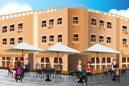 sidewalk cafe: A illustration of people enjoying coffee outside of a cafe