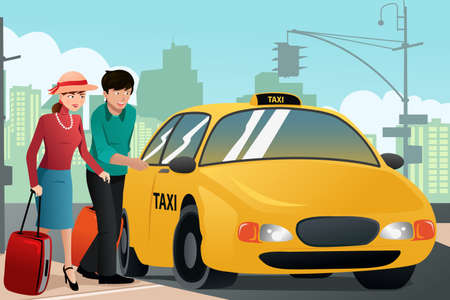 A illustration of couple of tourists calling a taxi cab Vector