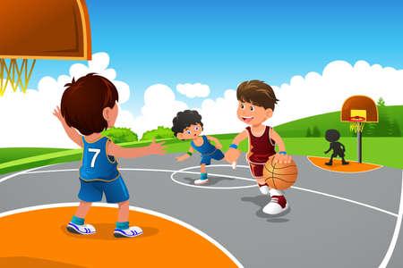 운동장에서 농구를하는 아이의 그림 일러스트