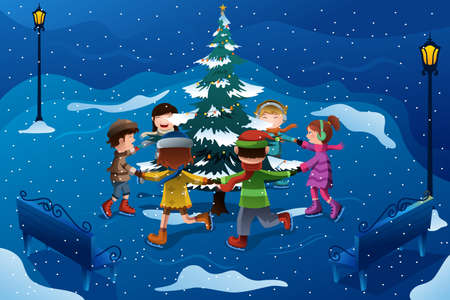A illustration of group of happy kids skating around a Christmas tree
